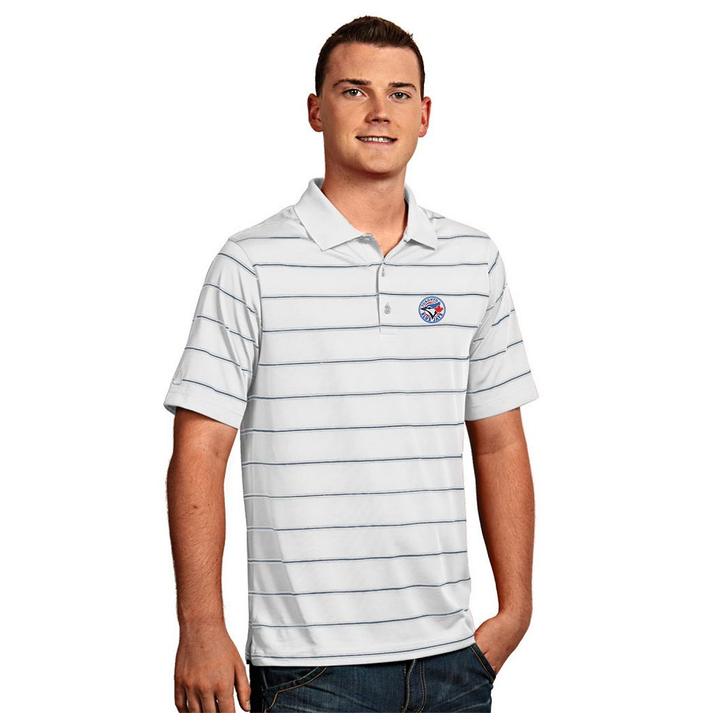 Men's Antigua Toronto Blue Jays Deluxe Striped Desert Dry Xtra-Lite Performance Polo
