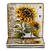 Certified International French Sunflowers 4 pc Square Dinner Plate Set