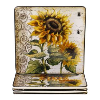Certified International French Sunflowers 4-pc. Square Dinner Plate Set