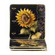 Certified International French Sunflowers 4 pc Square Salad Plate Set