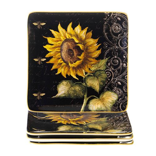 Certified International French Sunflowers 4-pc. Square Salad Plate Set