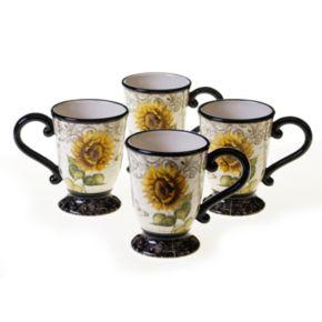Certified International French Sunflowers 4-pc. Mug Set