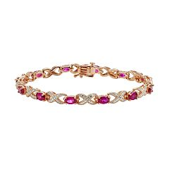 Lab-Created Ruby & Diamond Accent 14k Rose Gold-Plated XO Bracelet
