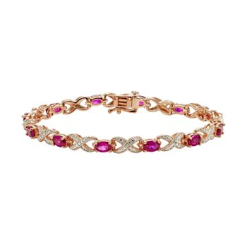 Lab-Created Ruby and Diamond Accent 14k Rose Gold-Plated XO Bracelet