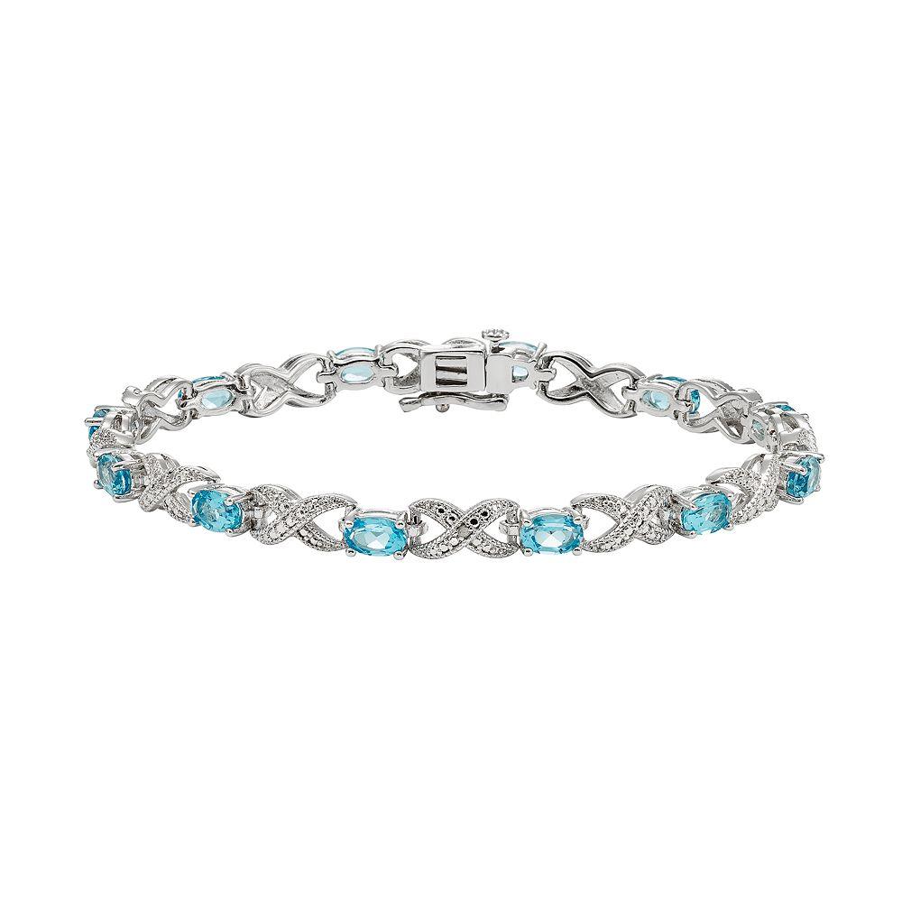Blue Topaz & Diamond Accent Silver-Plated XO Bracelet