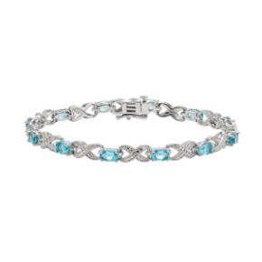 Blue Topaz and Diamond Accent Silver-Plated XO Bracelet