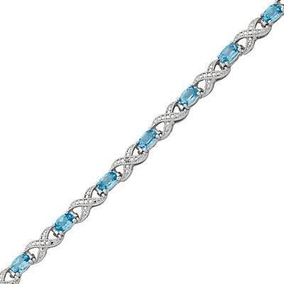 Blue Topaz and Diamond Accent Silver-Plated XO Bracelet
