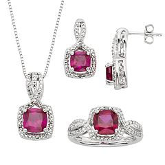 Lab-Created Ruby & Diamond Accent Silver-Plated Square Halo Pendant Necklace, Ring & Drop Earring Set