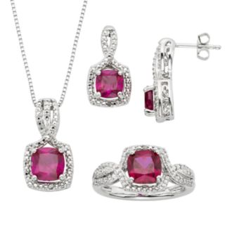 Lab-Created Ruby and Diamond Accent Silver-Plated Square Halo Pendant Necklace, Ring and Drop Earring Set
