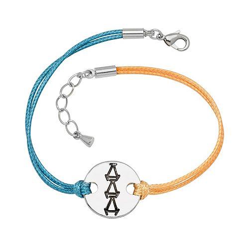 Stainless Steel Sorority Symbol Disc Cord Bracelet