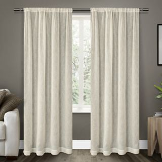 Exclusive Home 2-pack Belgian Textured Sheer Rod Pocket Window Curtains