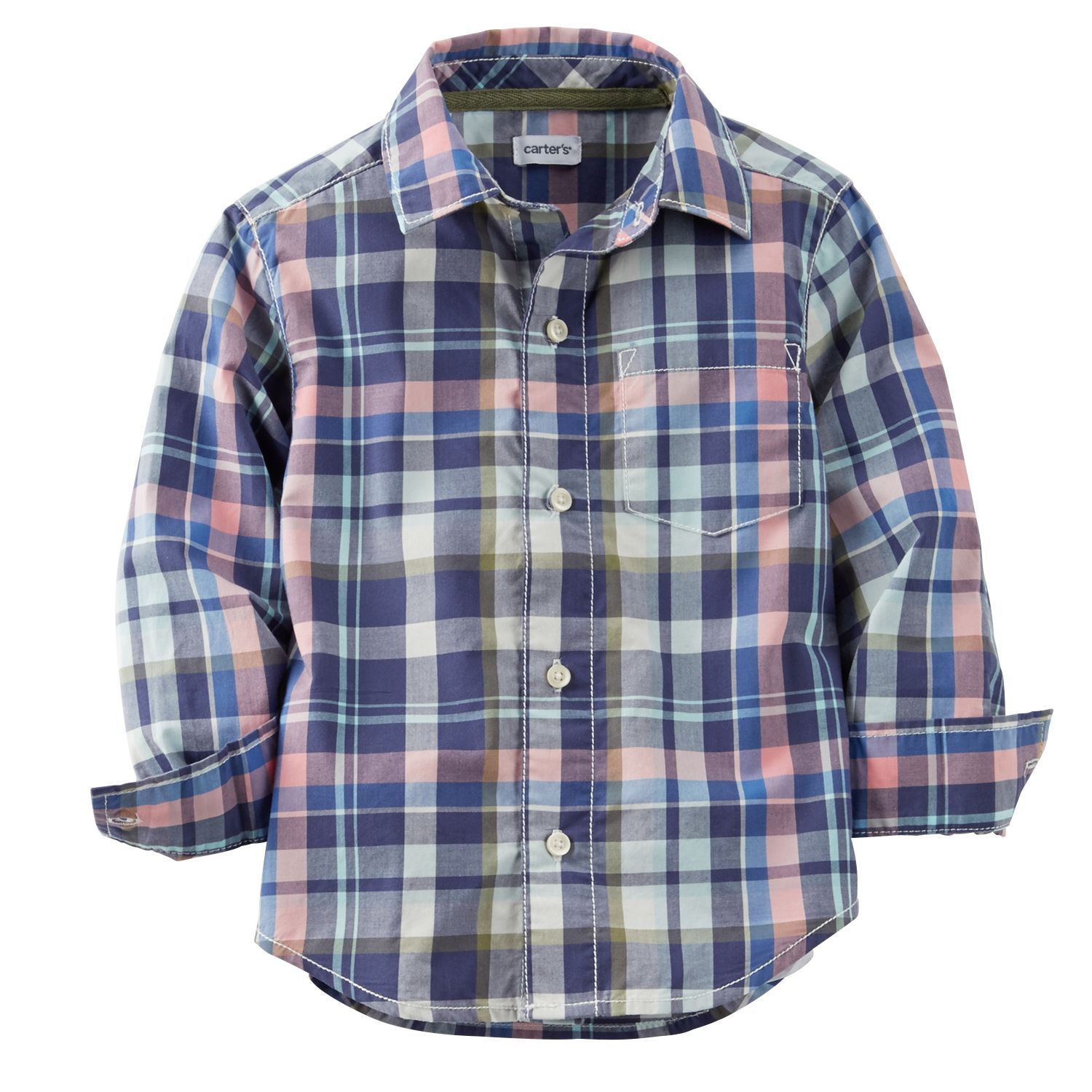 Blue Carters Boys Woven Oxford Striped Button-Down Shirt Lt