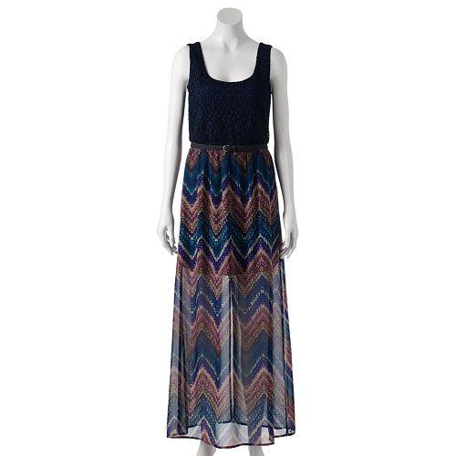Juniors' Lily Rose Lace Chiffon Maxi Dress