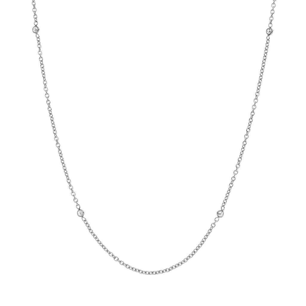 Blue La Rue Cubic Zirconia Stainless Steel Cable Chain Necklace