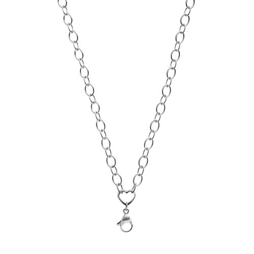 Blue La Rue Stainless Steel Heart Rolo Chain Necklace