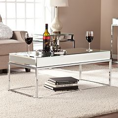 Southern Enterprises Lucinda Mirrored Coffee Table