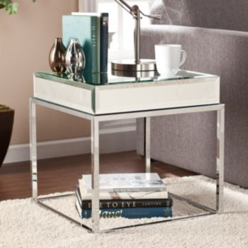 Southern Enterprises Lucinda Mirrored End Table