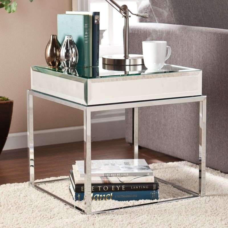 Southern Enterprises Lucinda Mirrored End Table, Other Clrs