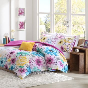 Comforter set full queen bed teal green purple yellow floral bedding
