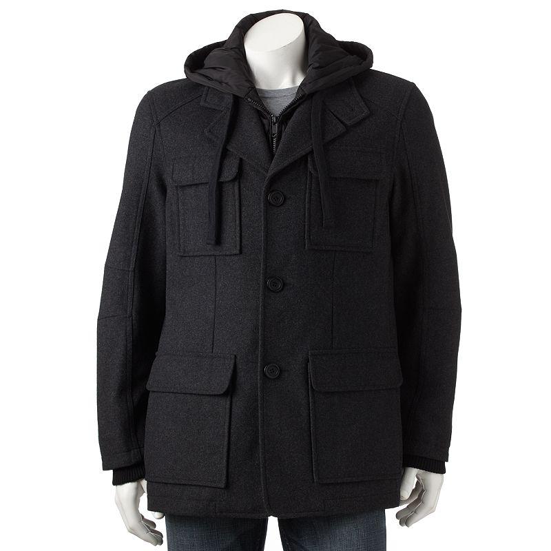 Apt. 9 Wool-Blend 4-Pocket Hooded Jacket - Big & Tall