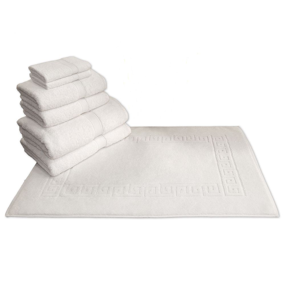 Linum Home Textiles Terry 7-pc. Bath Towel & Greek Key Bath Mat Set