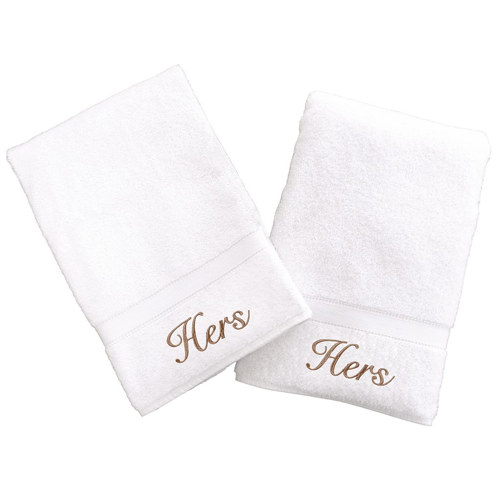 Linum Home Textiles Terry 2-pk. ''Hers'' & ''Hers'' Hand Towels
