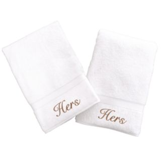 Linum Home Textiles Terry 2-pk. ''Hers'' and ''Hers'' Hand Towels