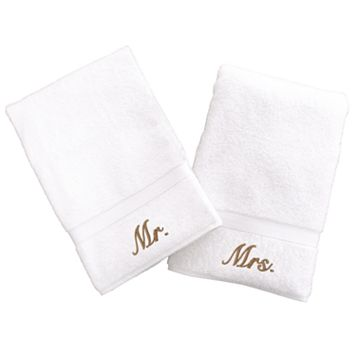 Linum Home Textiles Terry 2-pk. ''Mr.'' & ''Mrs.'' Hand Towels