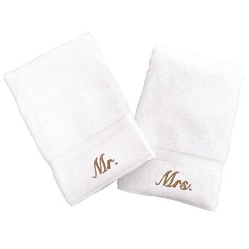Linum Home Textiles Terry 2-pk. ''Mr.'' and ''Mrs.'' Hand Towels