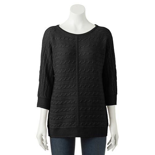 Women's Croft & Barrow® Cable-Knit Dolman Sweater
