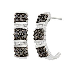 1 Carat T. W. Black & White Diamond Sterling Silver J-Hoop Earrings