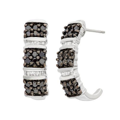 1 Carat T. W. Black & White Diamond Sterling Silver J-Hoop Earrings