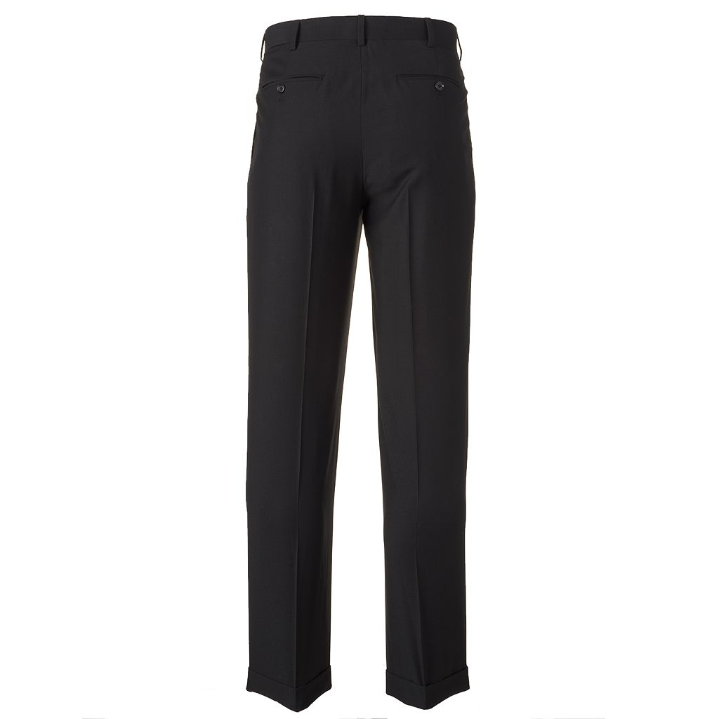Big & Tall Croft & Barrow® Classic-Fit Black Twill Pleated Suit Pants