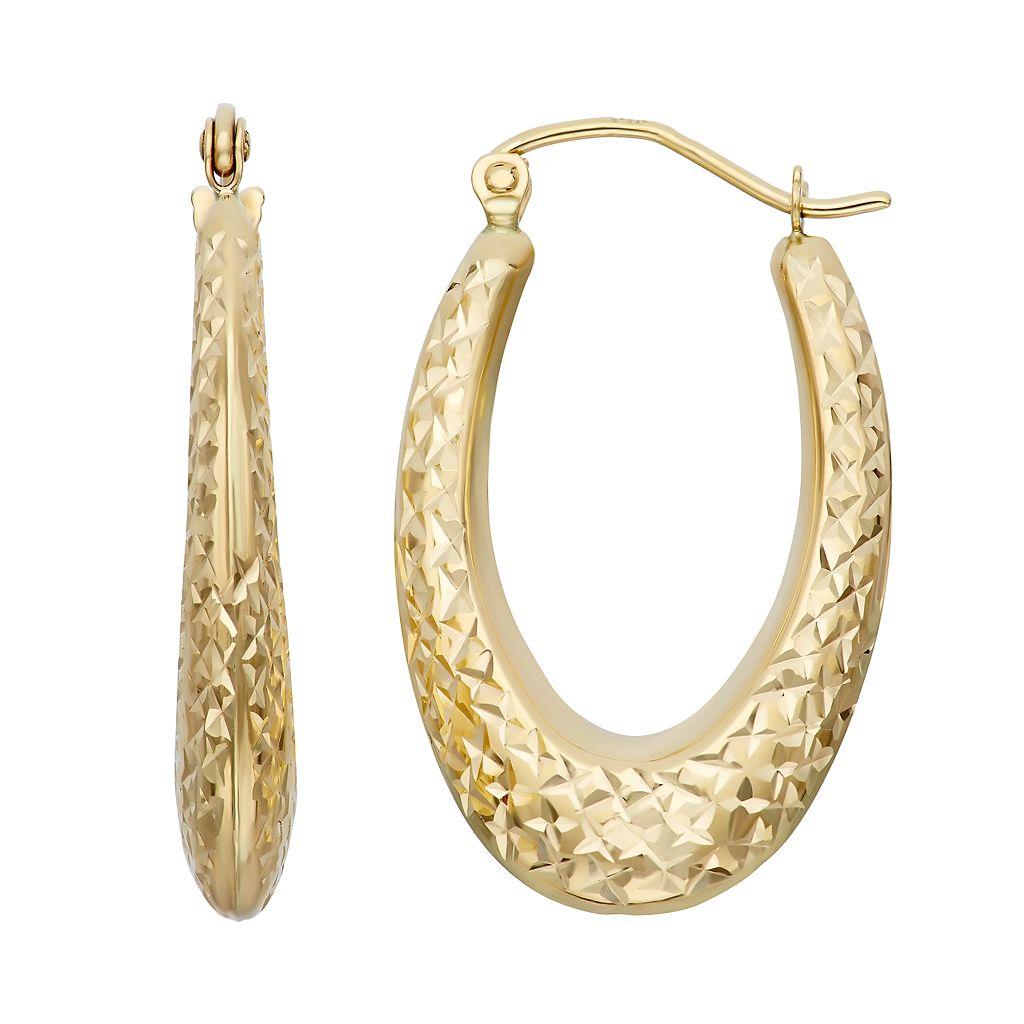 14k Gold Textured Oval Hoop Earrings