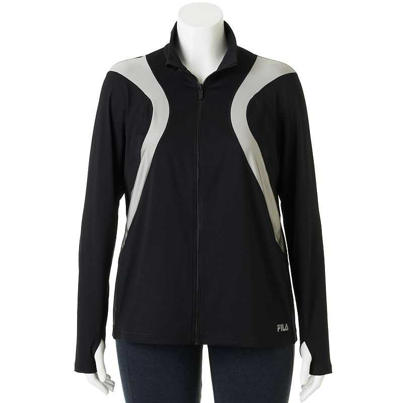 FILA Sport Colorblock Raglan Full-Zip Running Jacket - Women's Plus Size (Black)