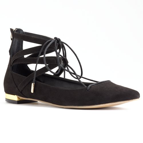 Rock & Republic® Women's Pointed Lace-Up Flats