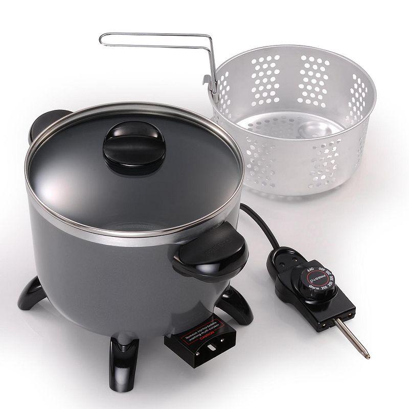 Presto 5-qt. Ceramic Multi-Cooker, Fryer & Steamer, Grey (Charcoal)