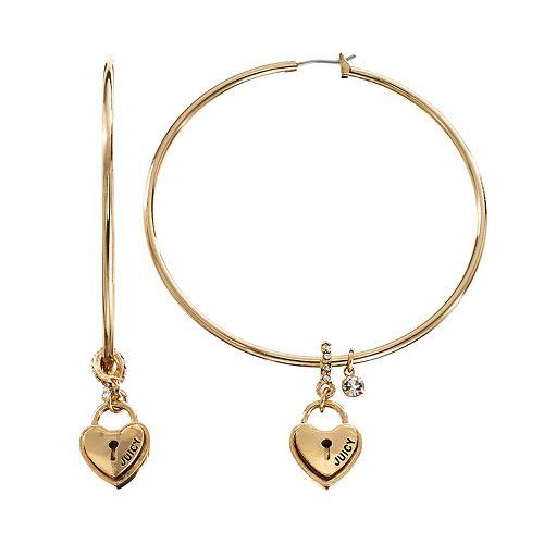 c7f62609f2ef3 Juicy Couture Heart Lock Hoop Earrings