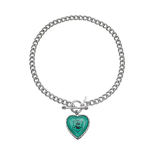 "Juicy Couture ""Viva La Couture"" Heart Charm Toggle Necklace"
