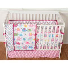 Sumersault Elephant Parade 4-pc. Crib Bedding Set by