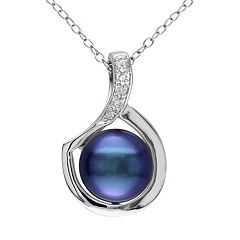 Stella Grace Dyed Freshwater Cultured Pearl and Diamond Accent Sterling Silver Pendant Necklace