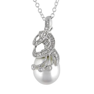 Stella Grace Freshwater Cultured Pearl and Diamond Accent Sterling Silver Pendant Necklace