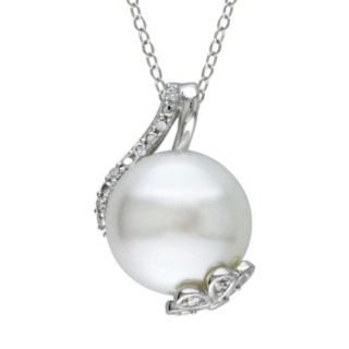 Stella Grace Freshwater Cultured Pearl and 1/10 Carat T.W. Diamond Sterling Silver Pendant Necklace