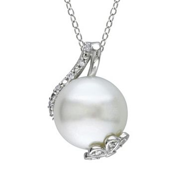 Freshwater Cultured Pearl & 1/10 Carat T.W. Diamond Sterling Silver Pendant Necklace