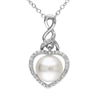 Stella Grace Freshwater Cultured Pearl and Diamond Accent Sterling Silver Heart Pendant Necklace