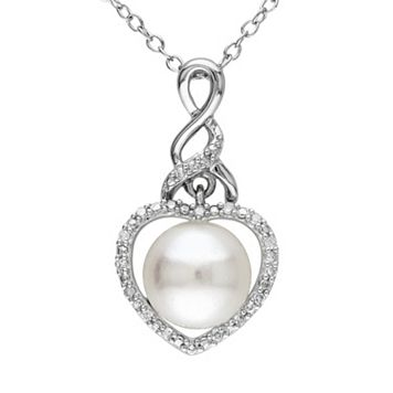 Freshwater Cultured Pearl & Diamond Accent Sterling Silver Heart Pendant Necklace