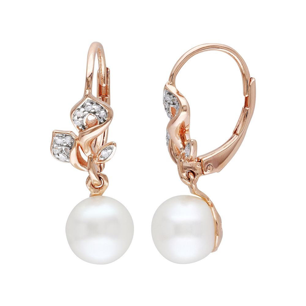Stella Grace Freshwater Cultured Pearl and 1/10 Carat T.W. Diamond 18k Rose Gold Over Silver Drop Earrings