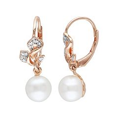 Freshwater Cultured Pearl & 1/10 Carat T.W. Diamond 18k Rose Gold Over Silver Drop Earrings