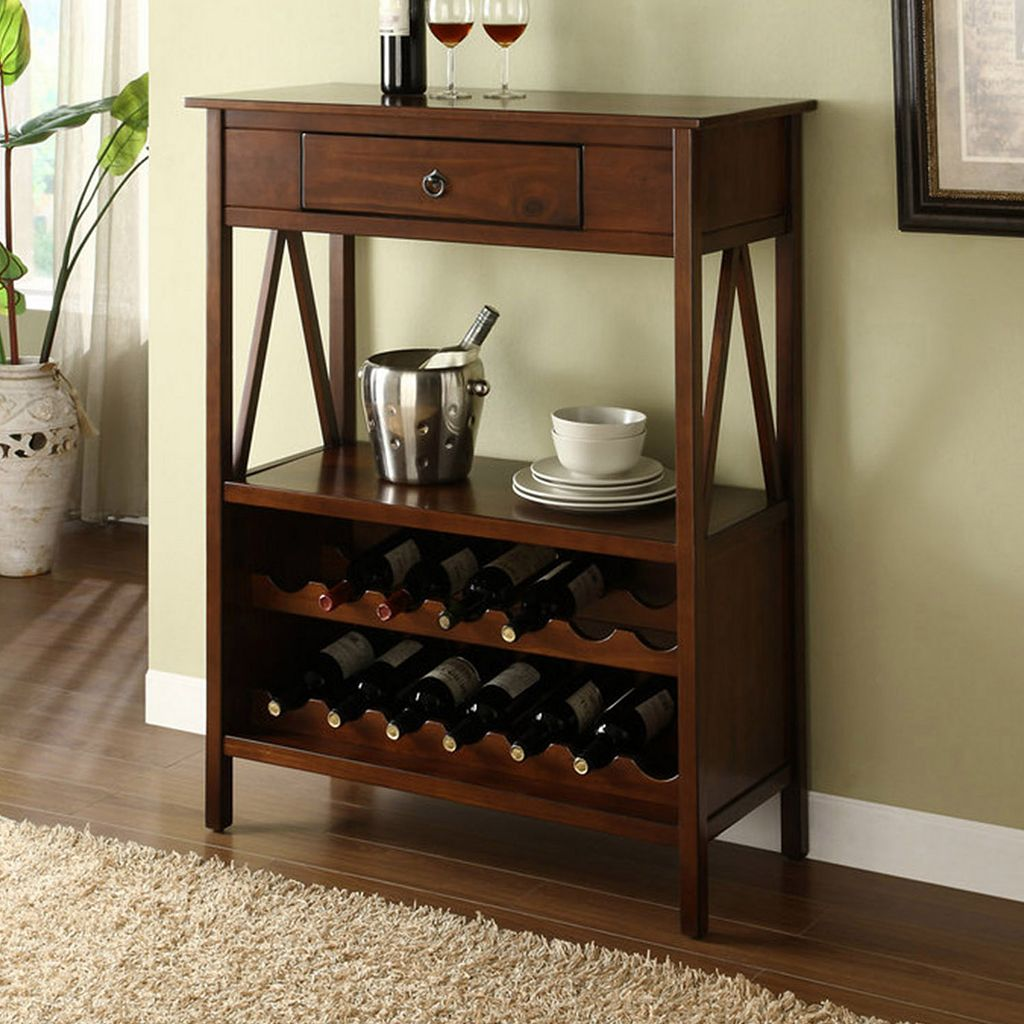 Linon Titian 14-Bottle Wine Cabinet