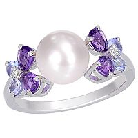 Freshwater Cultured Pearl, Tanzanite, Amethyst & Diamond Accent Sterling Silver Ring